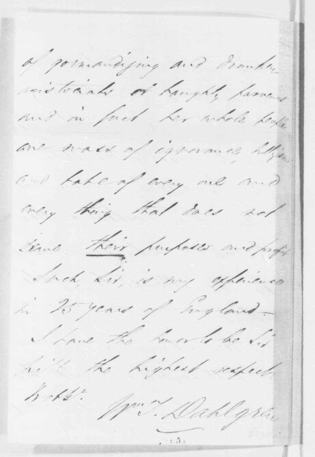 William t dahlgren to abraham lincoln thursday june 12 1862 relations with 8 1600