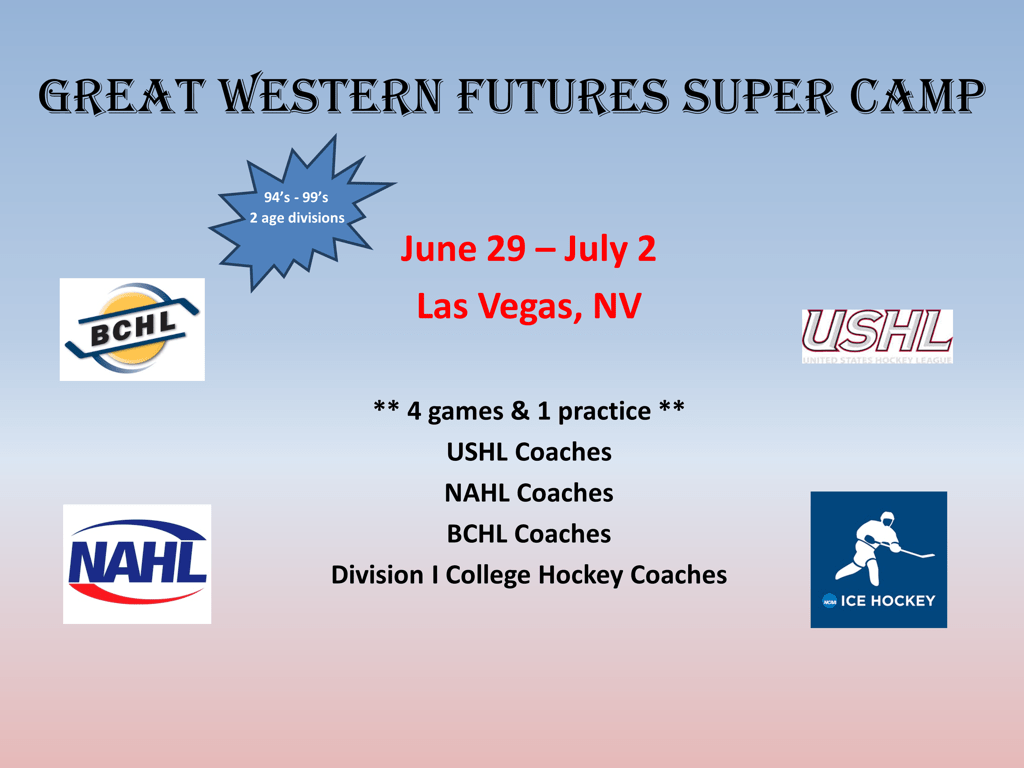 Great Western Futures Super Camp At Sobe Ice Arena Vegashockey Net