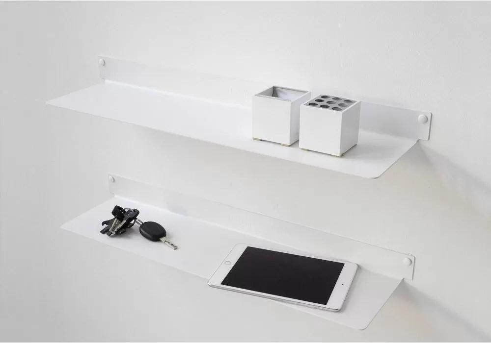 etagere murale design blanc invisible et en metal 60 cm lot de 2 acier