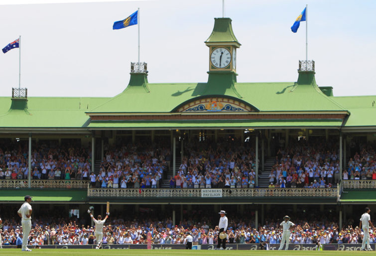Michael Clarke celebrates in front of the SCG Members Pavilion