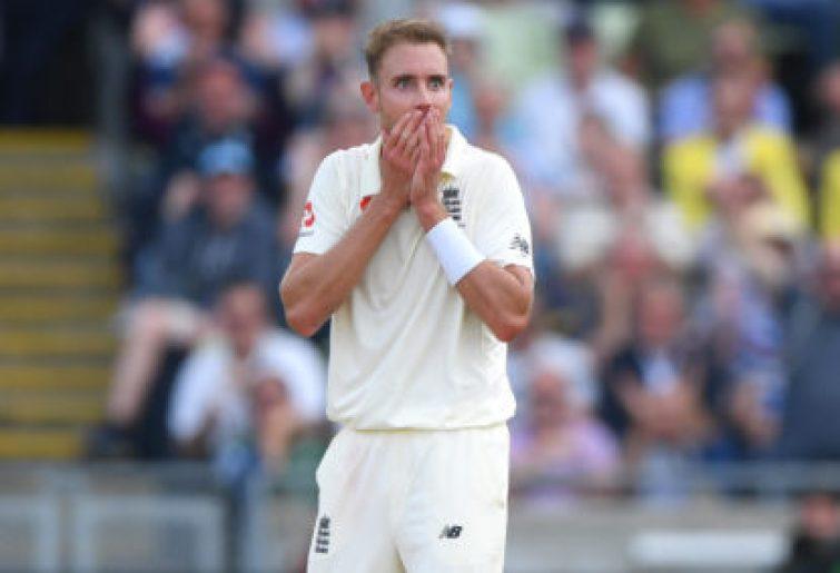 Stuart Broad celebrates taking a wicket