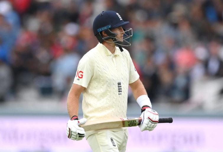 England batsman Joe Root reacts after being dismissed