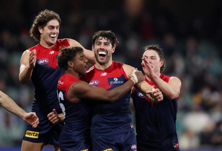 Christian Petracca celebrates a goal