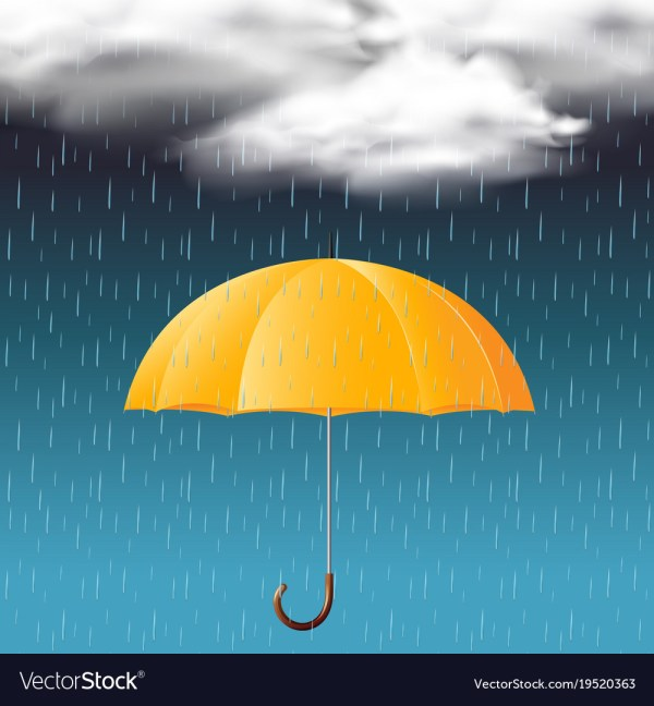 Yellow umbrella and rainy season Royalty Free Vector Image