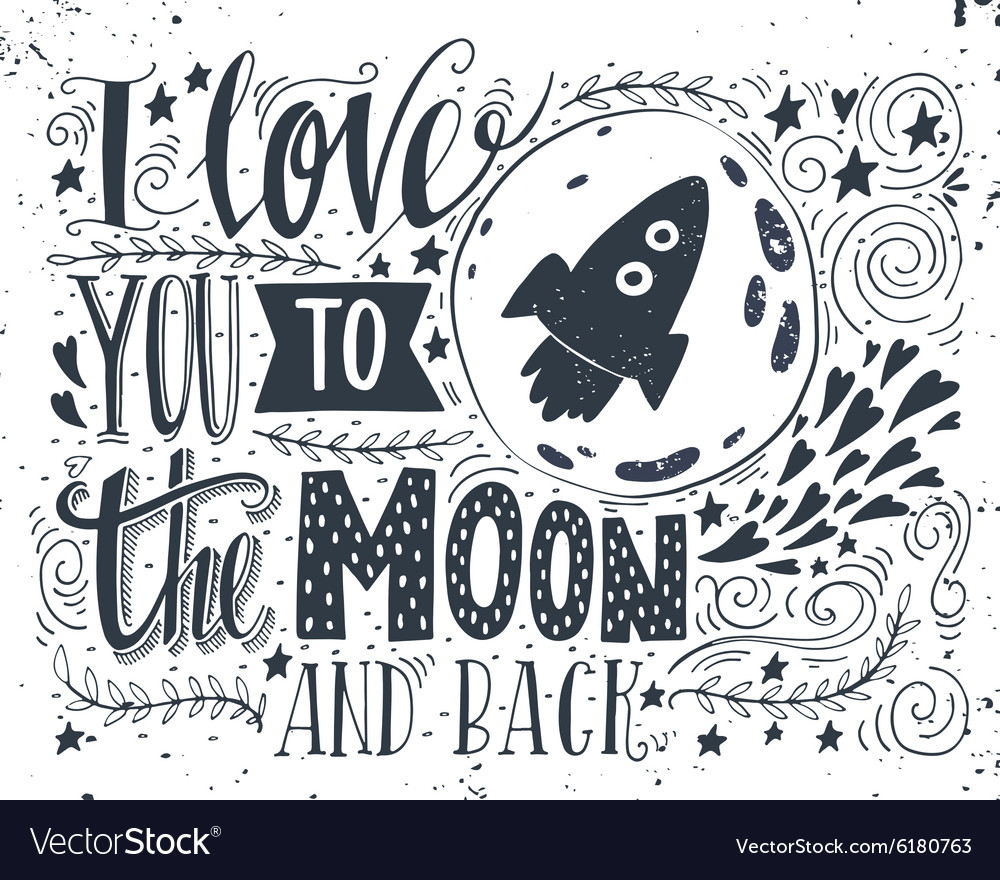 Download I love you to the moon and back Royalty Free Vector Image