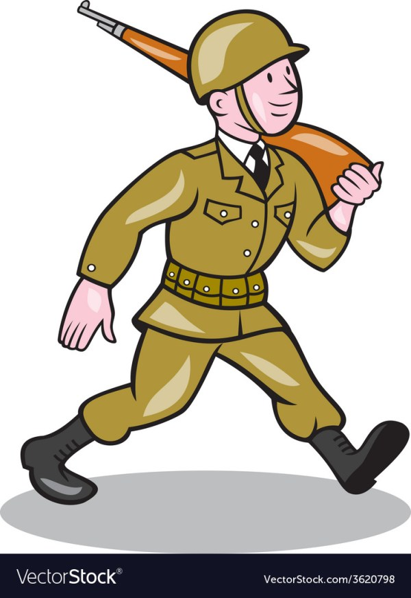 World war two soldier american cartoon isolated Vector Image