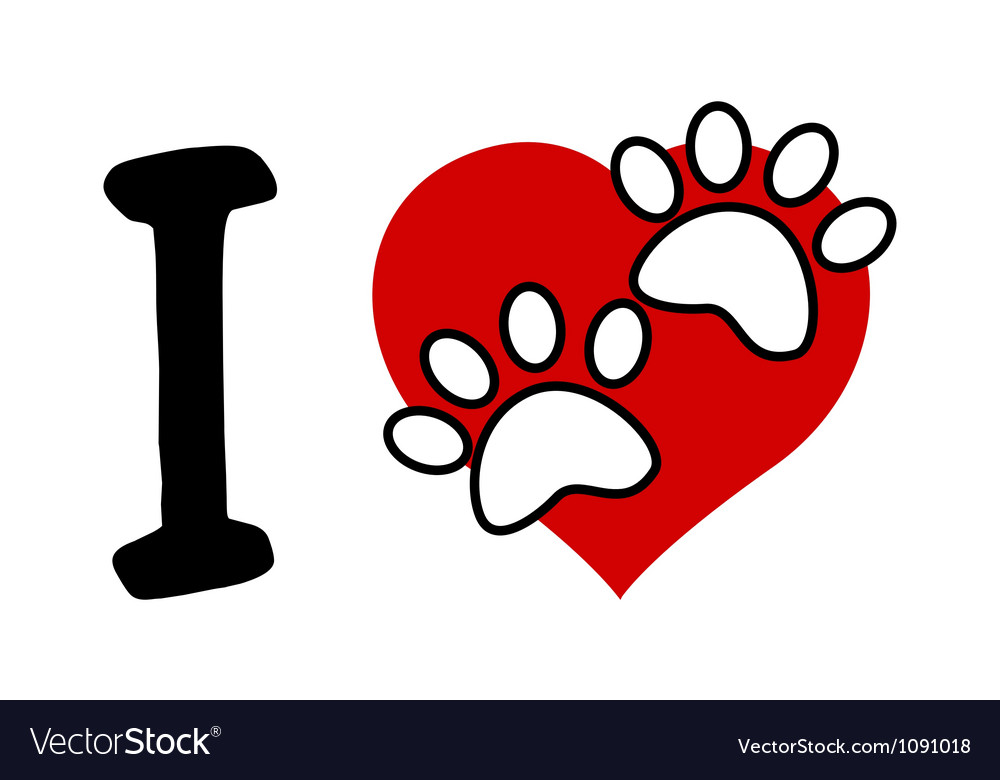 Download I love text with red heart and paw print Vector Image