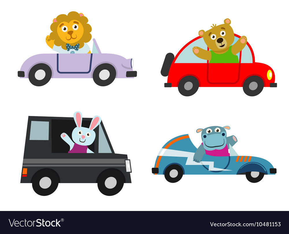 Kids Cars Transport With Cute Cartoon Animals Vector Image