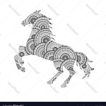 Horse Silhouette From Mandala Coloring Page Vector Image