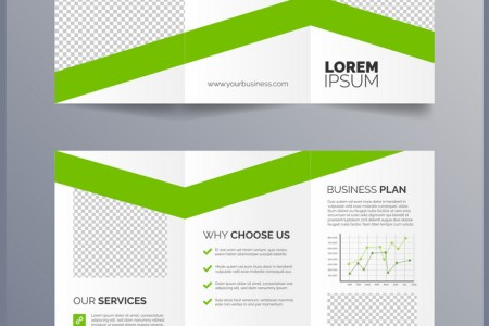 Business trifold brochure template   green Vector Image