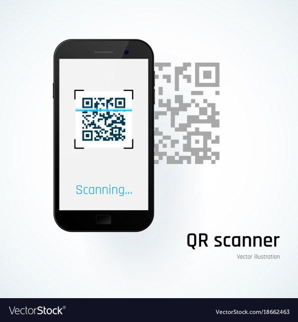 Qr scanner mobile scans qr code Royalty Free Vector Image