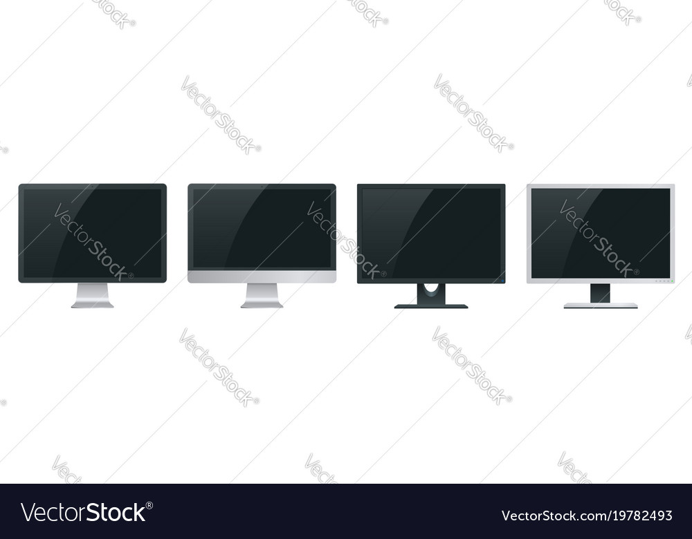 Computer Monitor Screen Mockup With A Perspective Vector Image