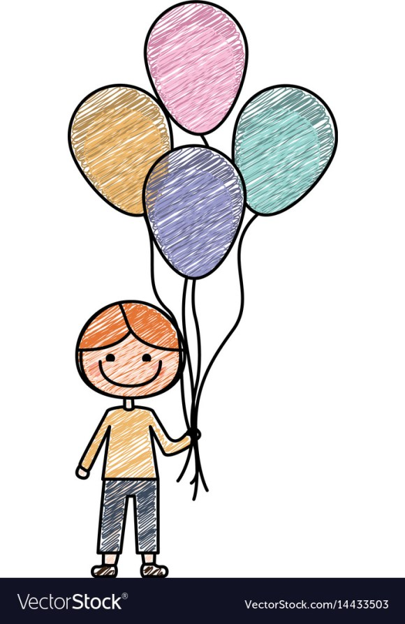 Color pencil drawing of caricature of smiling kid Vector Image