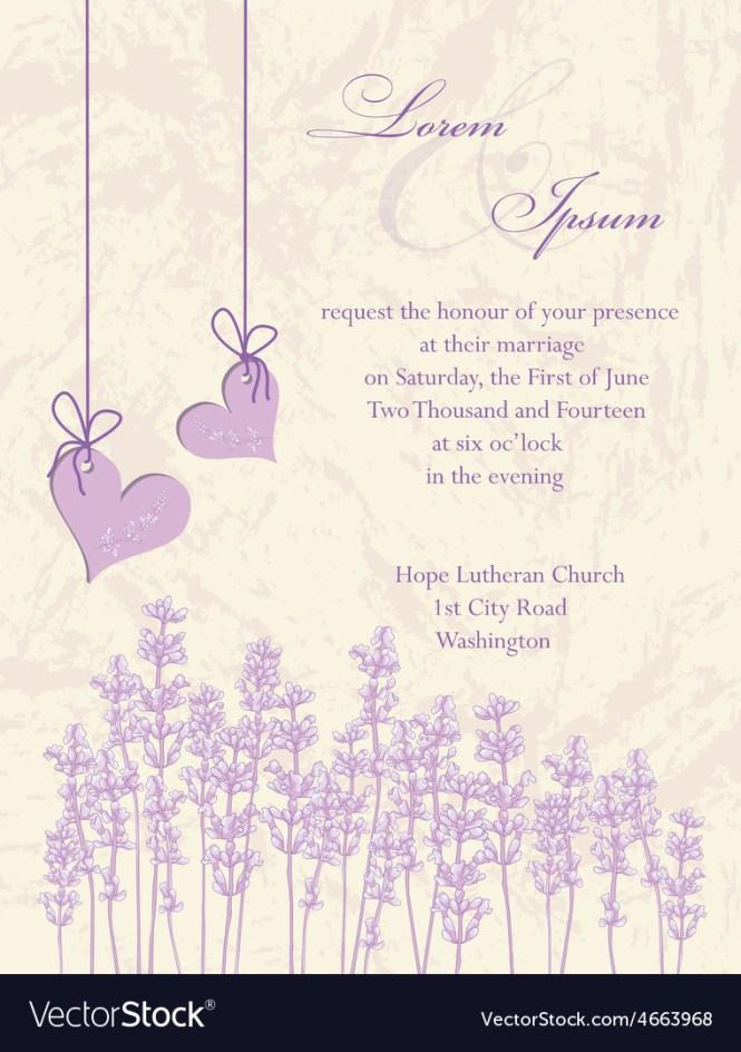 Wedding Invitation Card Lavender