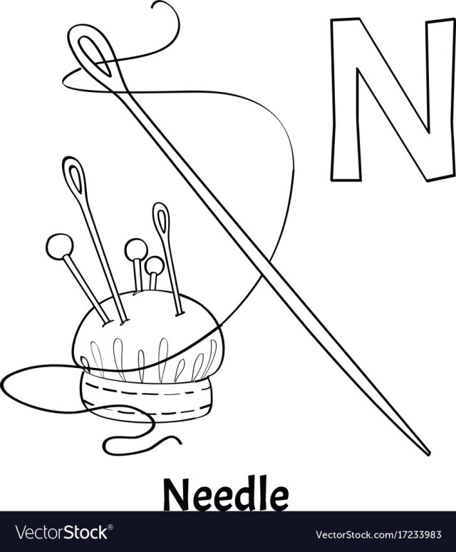 Alphabet letter n coloring page needle Royalty Free Vector