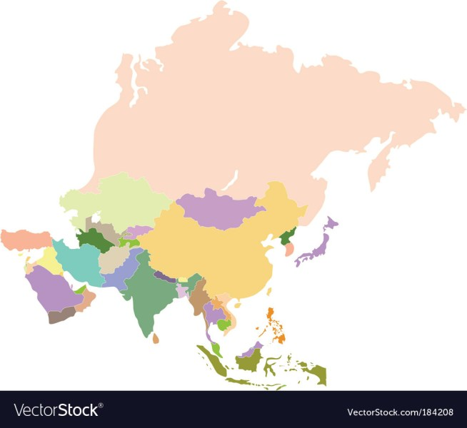 Map of Asia Royalty Free Vector Image   VectorStock Map of Asia vector image