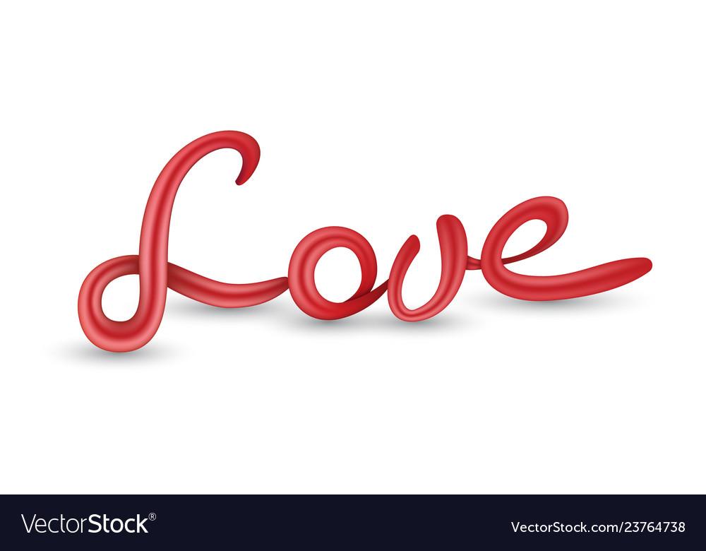 Download Love 3d lettering Royalty Free Vector Image - VectorStock