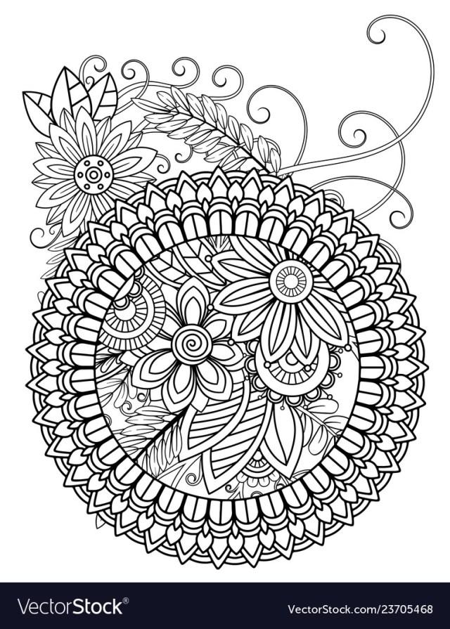 Mandala adult coloring pages Royalty Free Vector Image