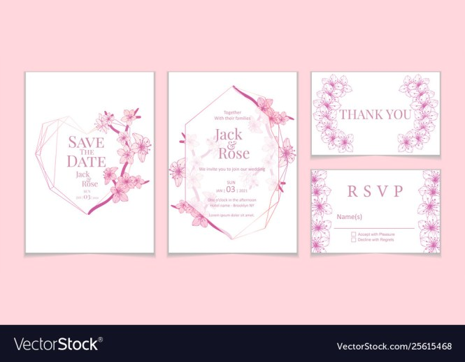 Vintage Sakura Wedding Invitation Cards