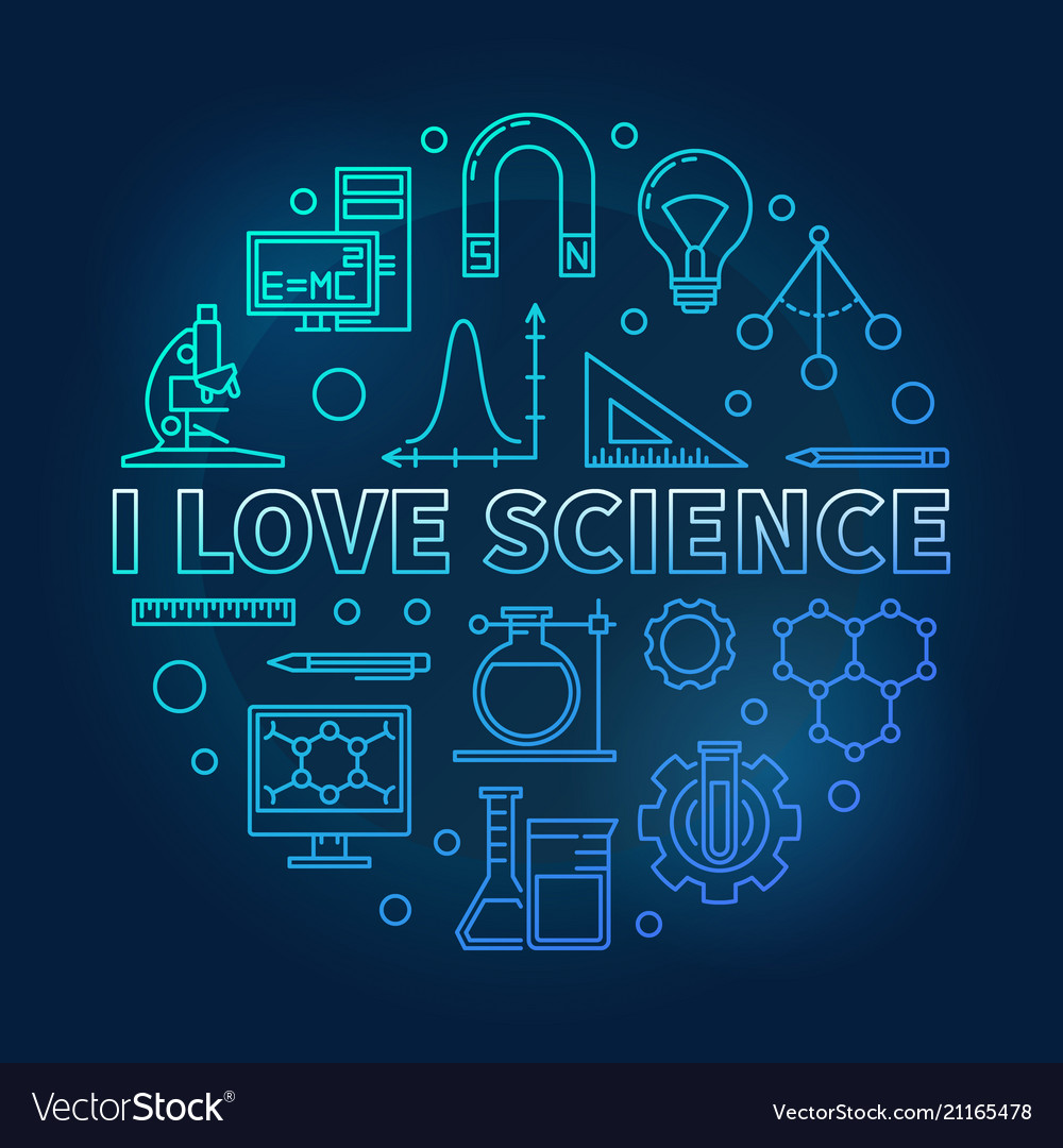 Download I love science blue round in Royalty Free Vector Image