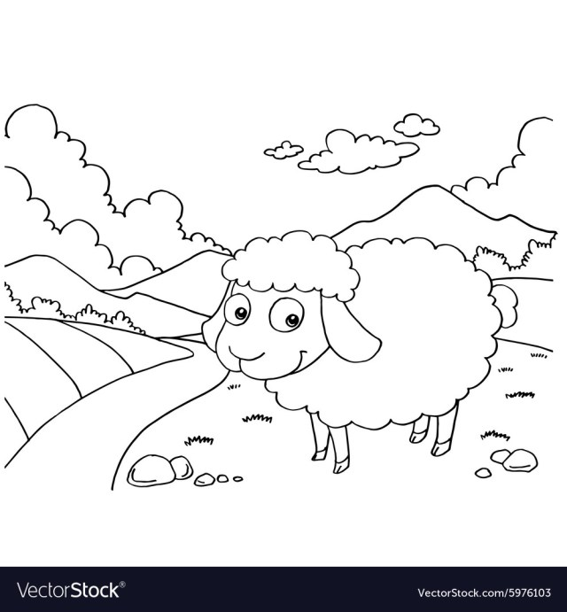 Sheep colouring pages Royalty Free Vector Image
