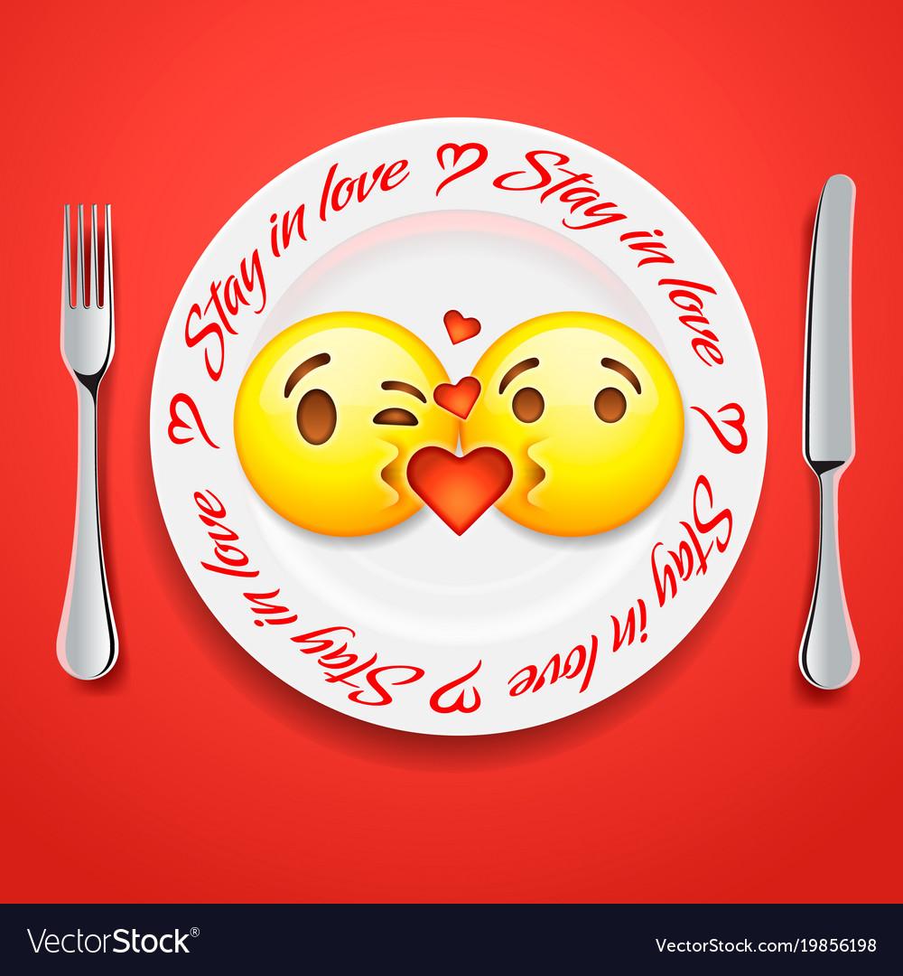 Download Two kissing emoji faces in love emoticon concept Vector Image