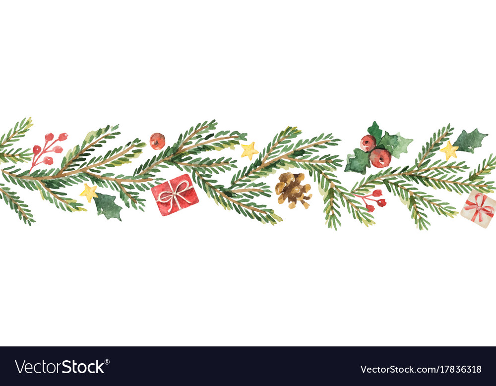 Watercolor Christmas Banner With Fir Royalty Free Vector