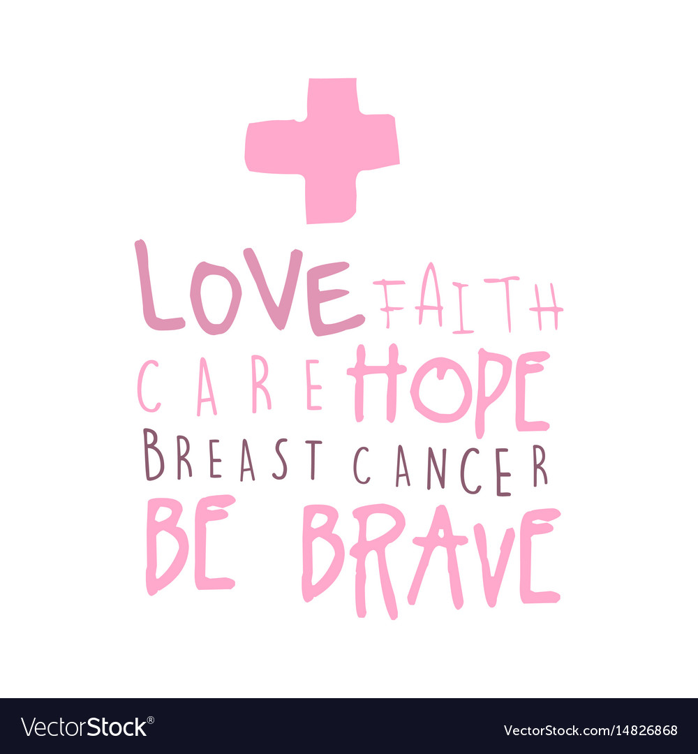 Download Love faith care hope label breast cancer be Vector Image