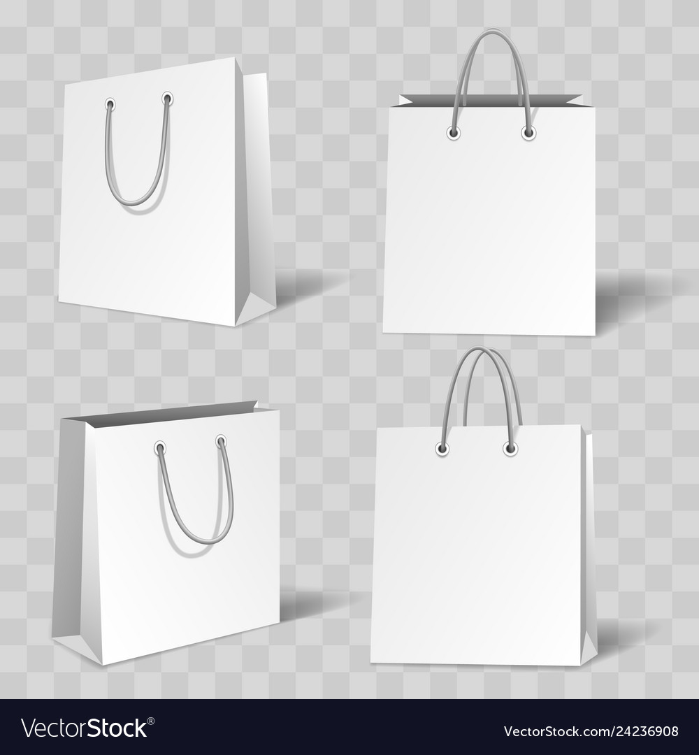 Two blank grey and white eco friendly paper bags on light surface. Realistic White Paper Bag Mockup Royalty Free Vector Image