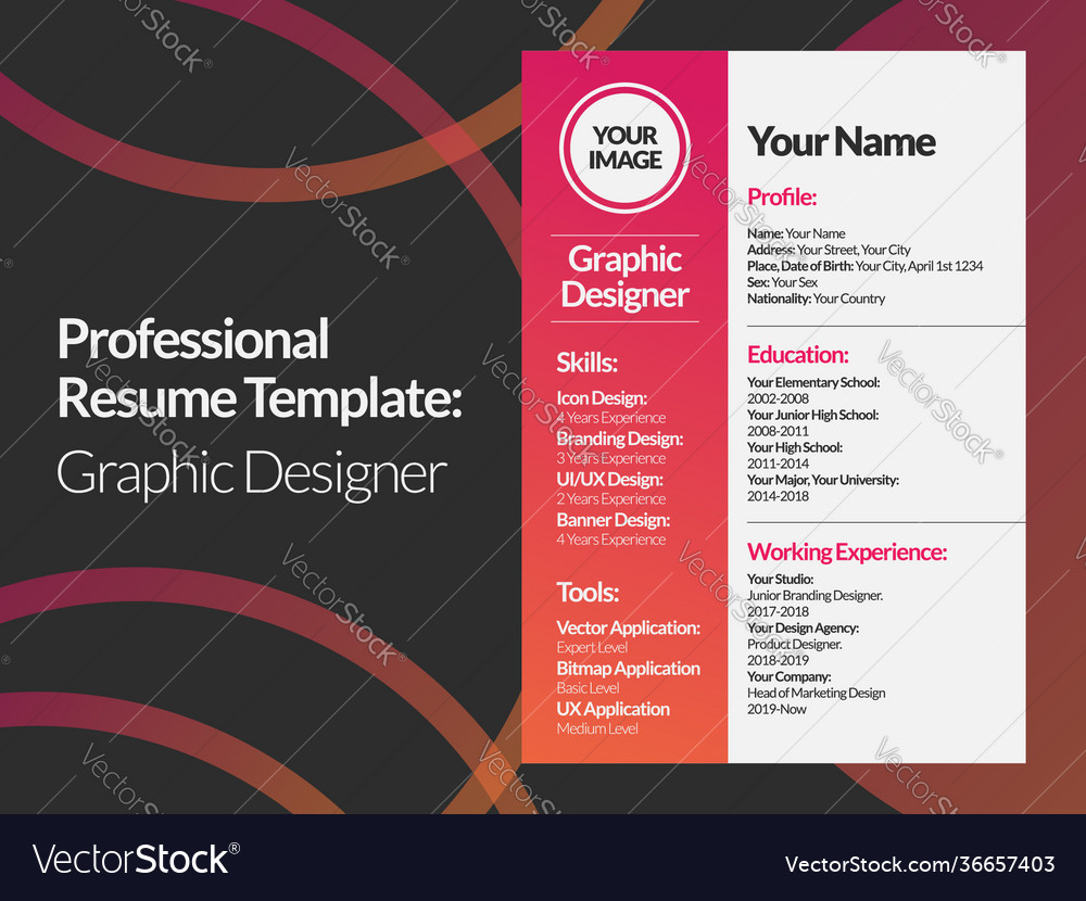 They use their hands to paint, draw and sculpt designs, as well as computer design software to meet their clients'. Graphic Designer Resume Design Template Royalty Free Vector