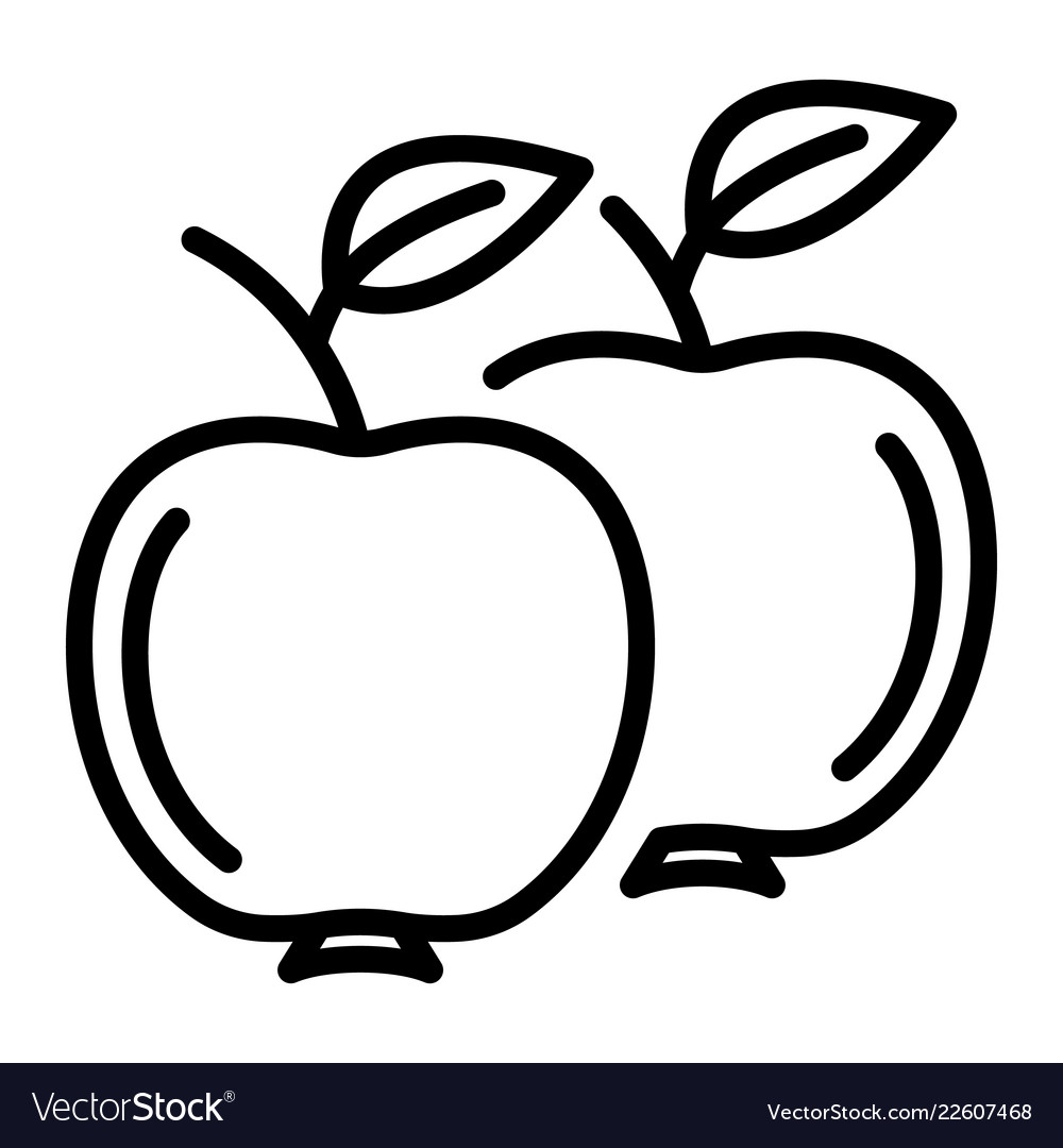 Apples Icon Outline Style Royalty Free Vector Image