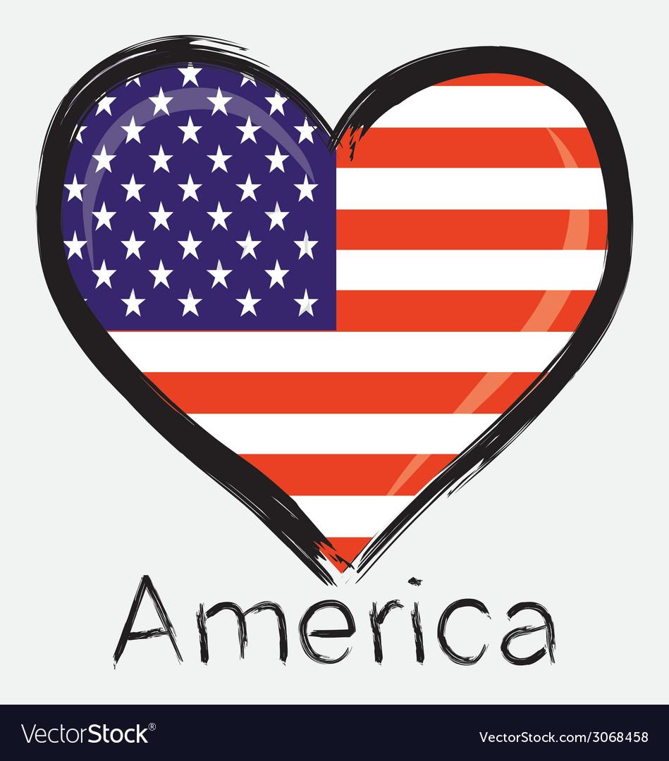 Download Love america flag Royalty Free Vector Image - VectorStock