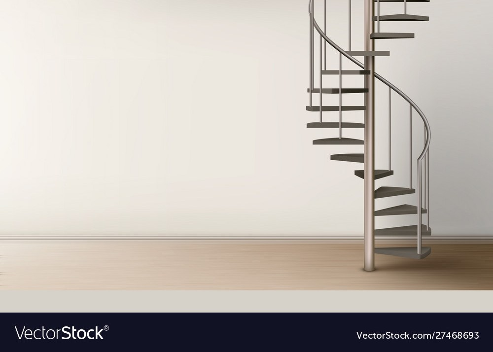 Spiral Staircase In Empty Home Interior Design Vector Image   Ladder Design In Home   Unusual   Spiral   Steel   Iron   Easy