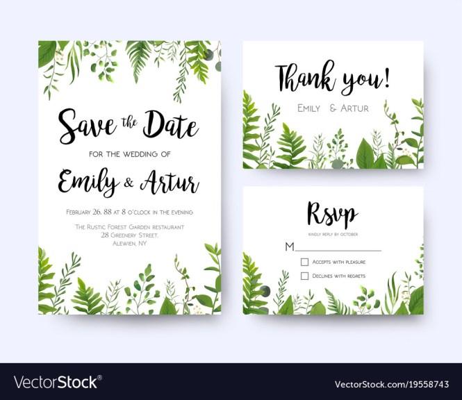 Green Wedding Invite Menu Rsvp Thank You Card Set