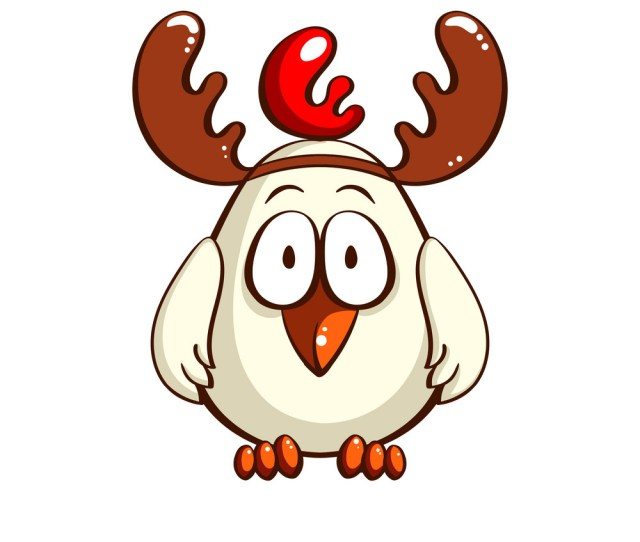 White Chick With Antlers Vector Image