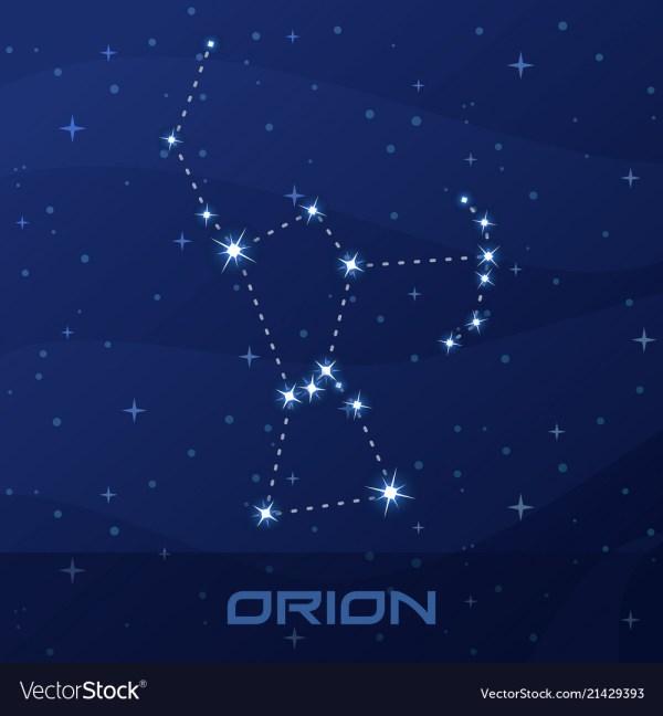 Constellation orion hunter night star sky Vector Image