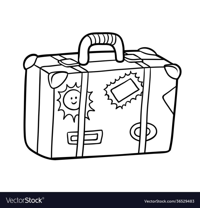 Coloring book suitcase with stickers Royalty Free Vector
