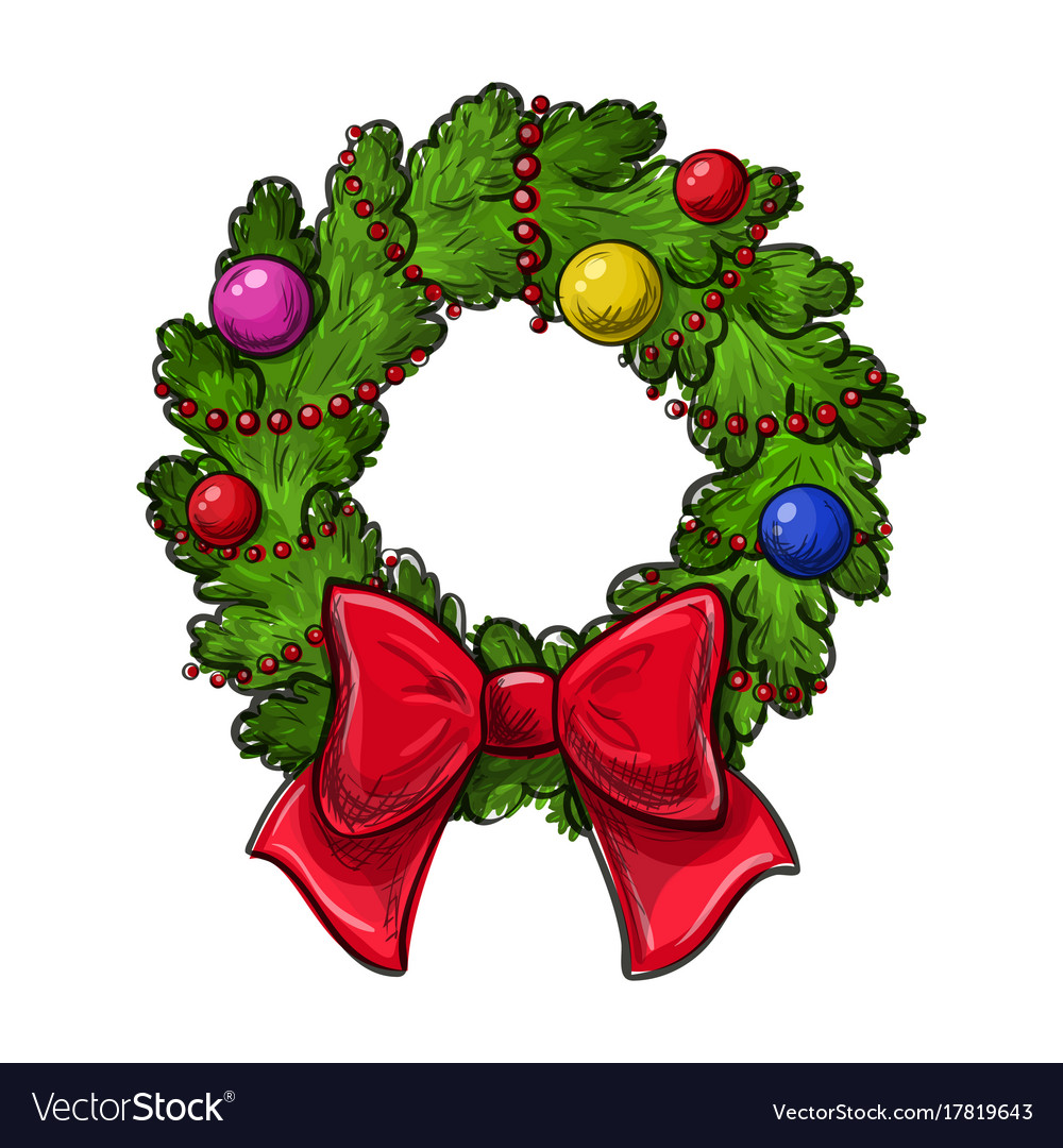 Christmas Wreath Drawing Royalty Free Vector Image