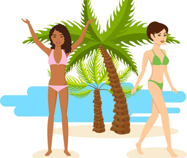Tanned Girls In Bikini Rest During Vacation At Sea Vector Image