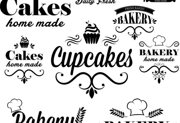 Set Of Black Bakery Logos Royalty Free Vector Image