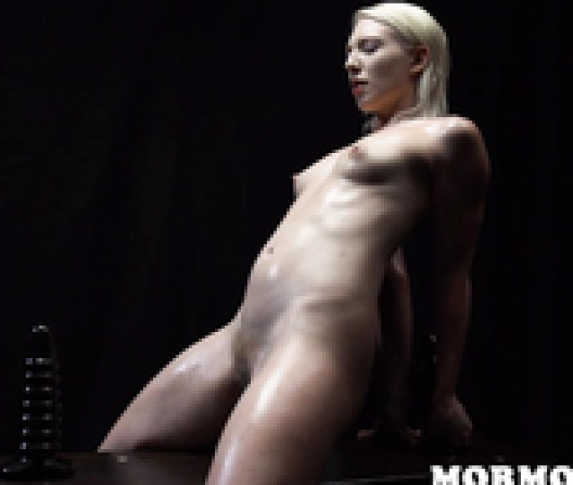 Wet And Naked Mormon Brunette Is Sitting On A Black Sex Toy