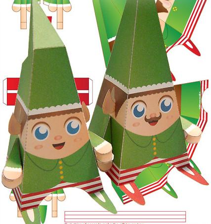 Papercraft de los elfos de Santa Claus.
