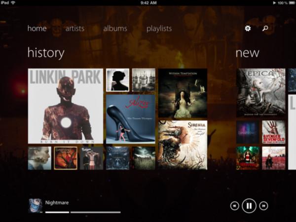 track 8 reproductor musica ipad interfaz metro Recopilación de aplicaciones para escuchar música en iOS