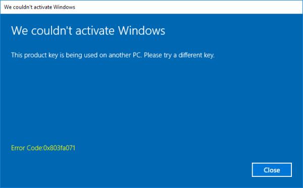 0x803FA071 - Windows Activate - Cover - Windows 10 - Windows Wally