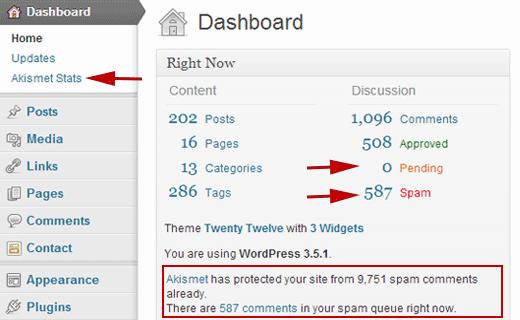 Tổng quan về thống kê Akismat trên bảng điều khiển quản trị viên WordPress