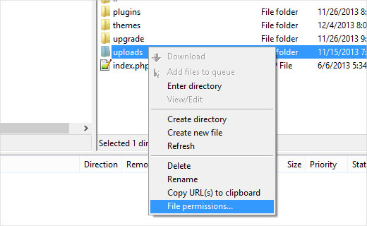 Opening File Permissions dialog box in Filezilla FTP Client