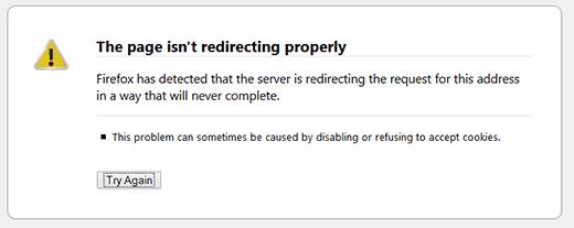 Kesalahan pengalihan WordPress ditampilkan di Firefox