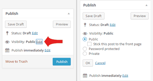 Making posts Private or Password Protected in WordPress