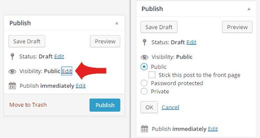 Tạo bài đăng Riêng tư hoặc Mật khẩu được bảo vệ trong WordPress