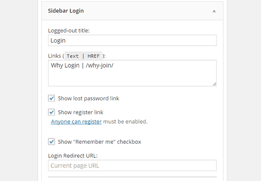 Sidebar login widget settings